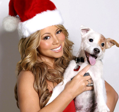 Mariah Carey carrying The Russell Terrier